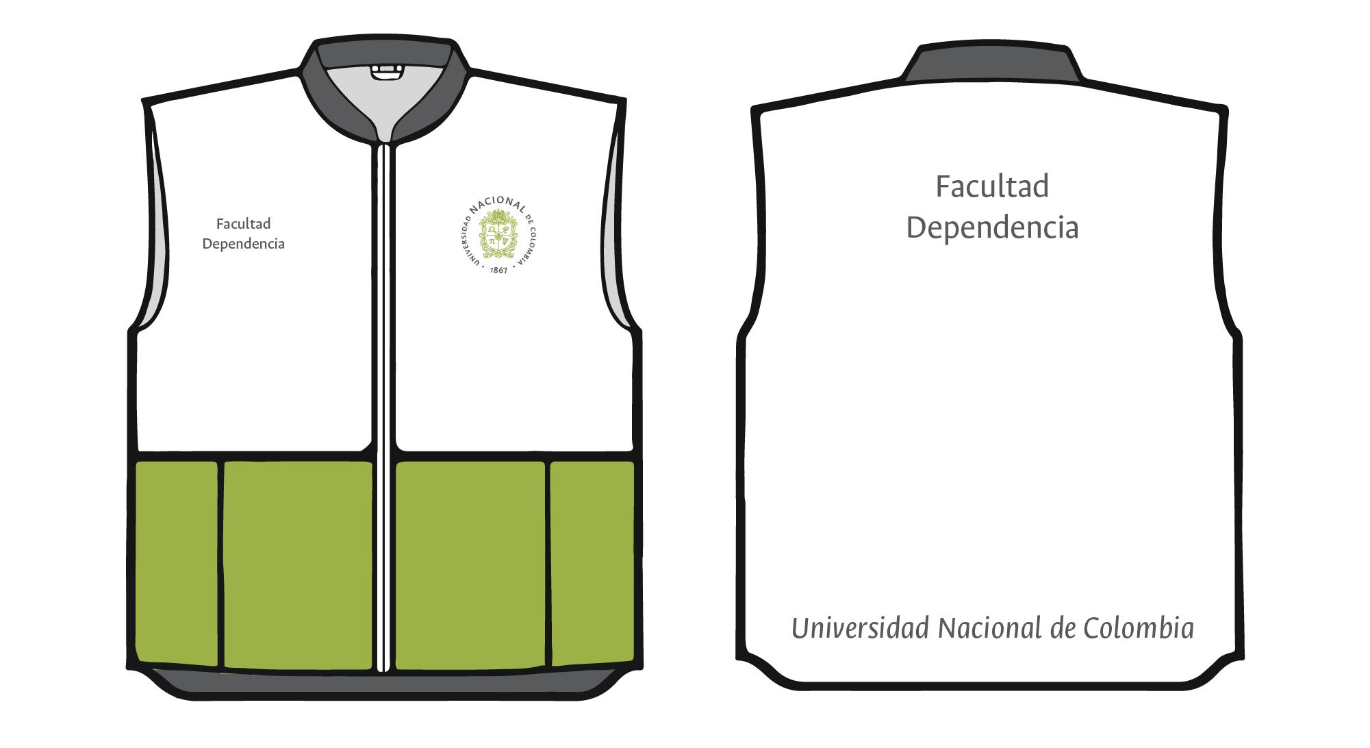 Aplicación del logosímbolo y firma institucional  en chaqueta, chalecos y camisas institucionales.  Logosímbolo circular verde (2 colores) sobre tela blanca.