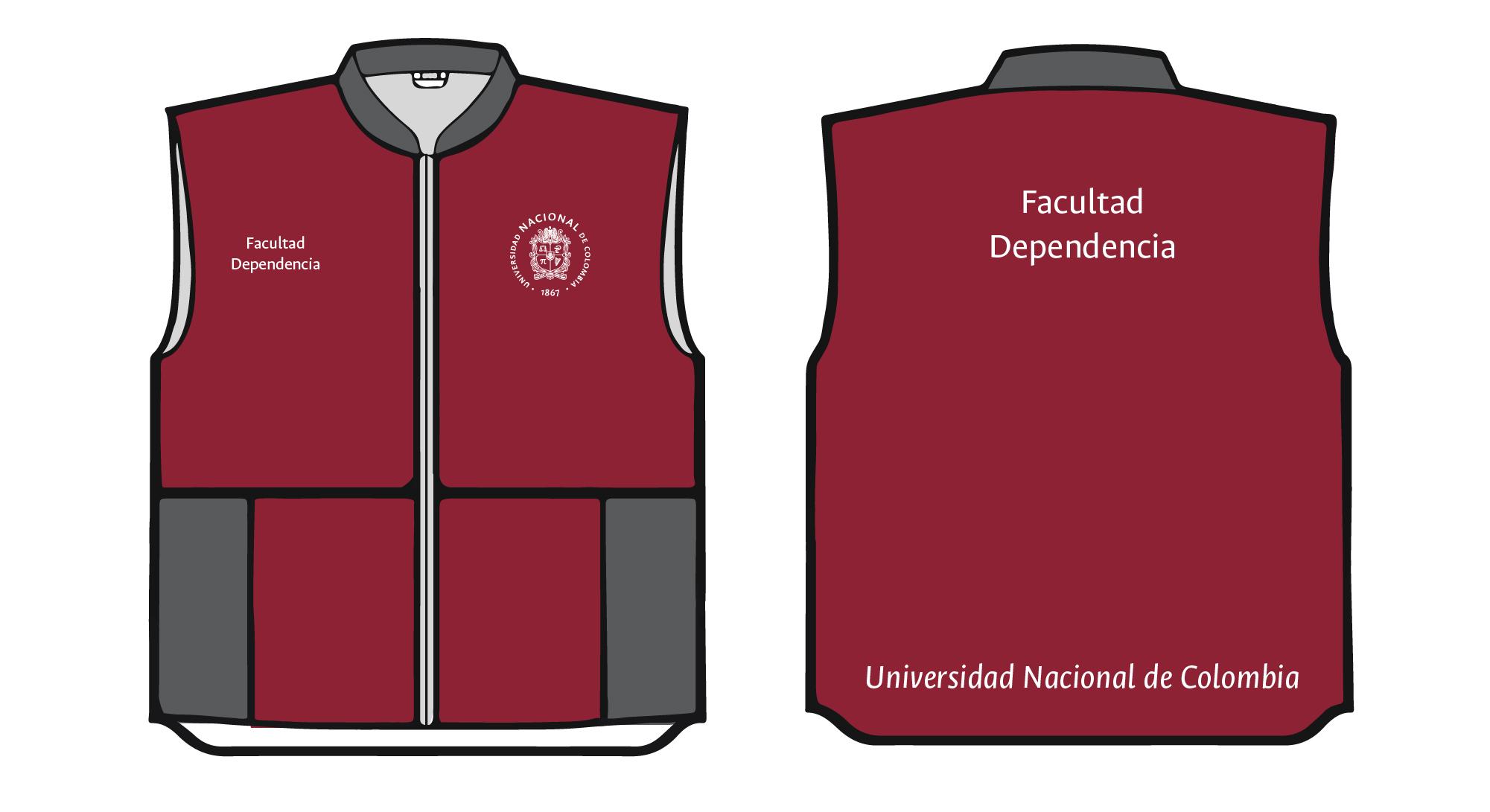 Aplicación del logosímbolo y firma institucional en chaqueta, chalecos, camisas y camisetas Institucionales. Logosímbolo circular un color (blanco o negro) sobre tela de color