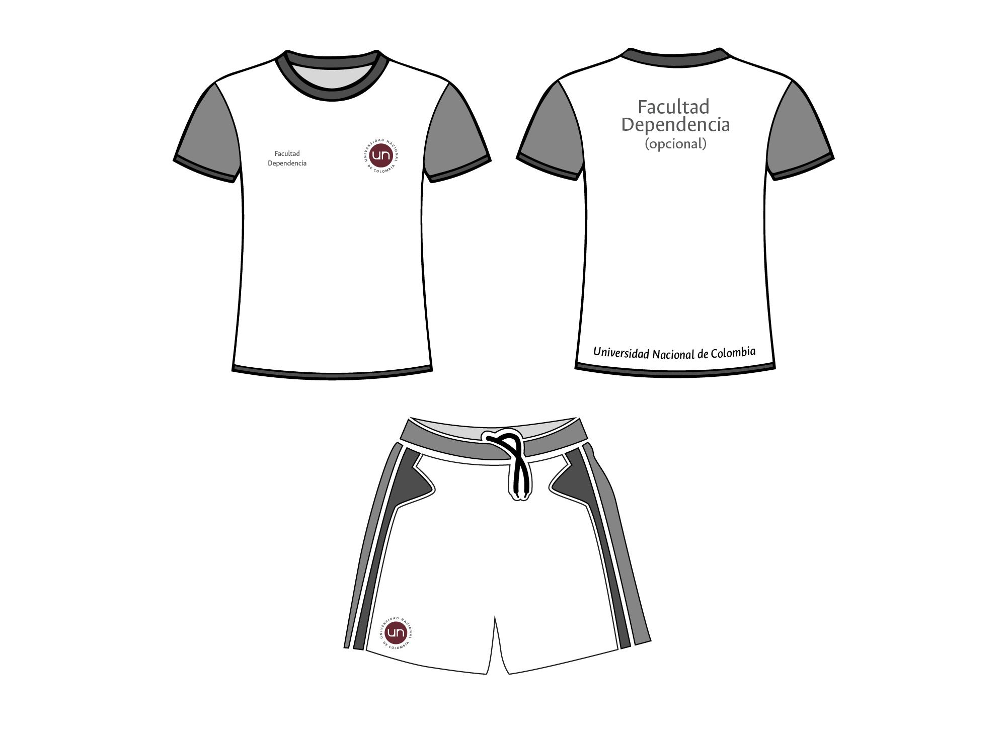 Aplicación del logotipo en indumentaria promocional y deportiva. Logotipo a 2 colores (rojo  y gris)
