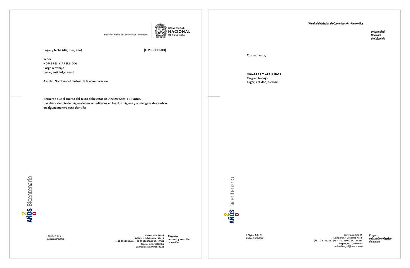 Aplicación en papelería institucional