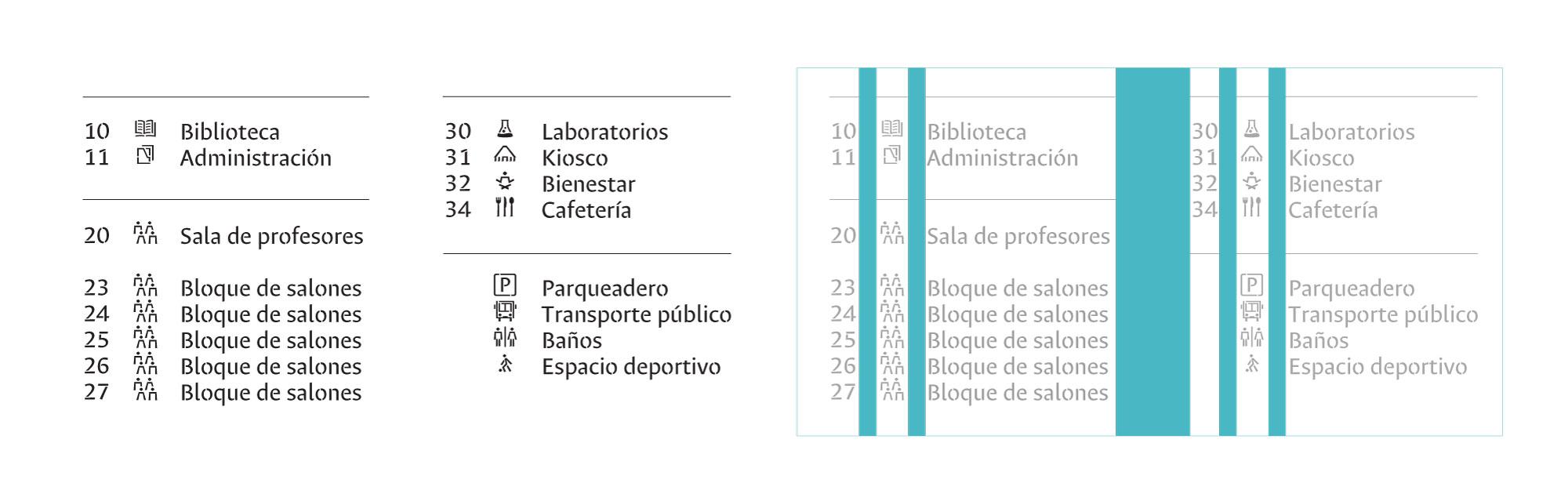 En diseño de información el espacio entre columnas depende de la necesidad de agrupación y separación de la información. También, podemos valernos de columnas adicionales para aproximar la información a la vista del usuario, en muchos casos si se extiende