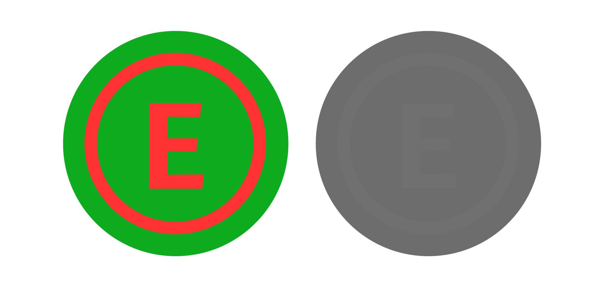El verde y el rojo neutros son dos colores que aunque complementarios y muy distintos entre sí, tienen una luminosidad equivalente, y es este último factor es el que determina el contraste. Una señal que use estos dos colores aplicando uno a la forma y ot