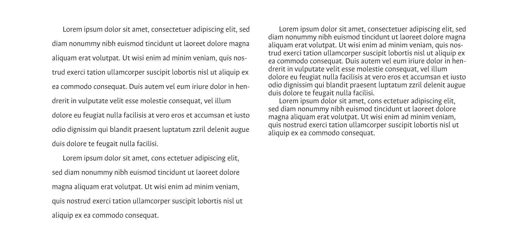 Interlínea demasiado suelta (izquierda) y demasiado apretada (derecha) para texto corrido