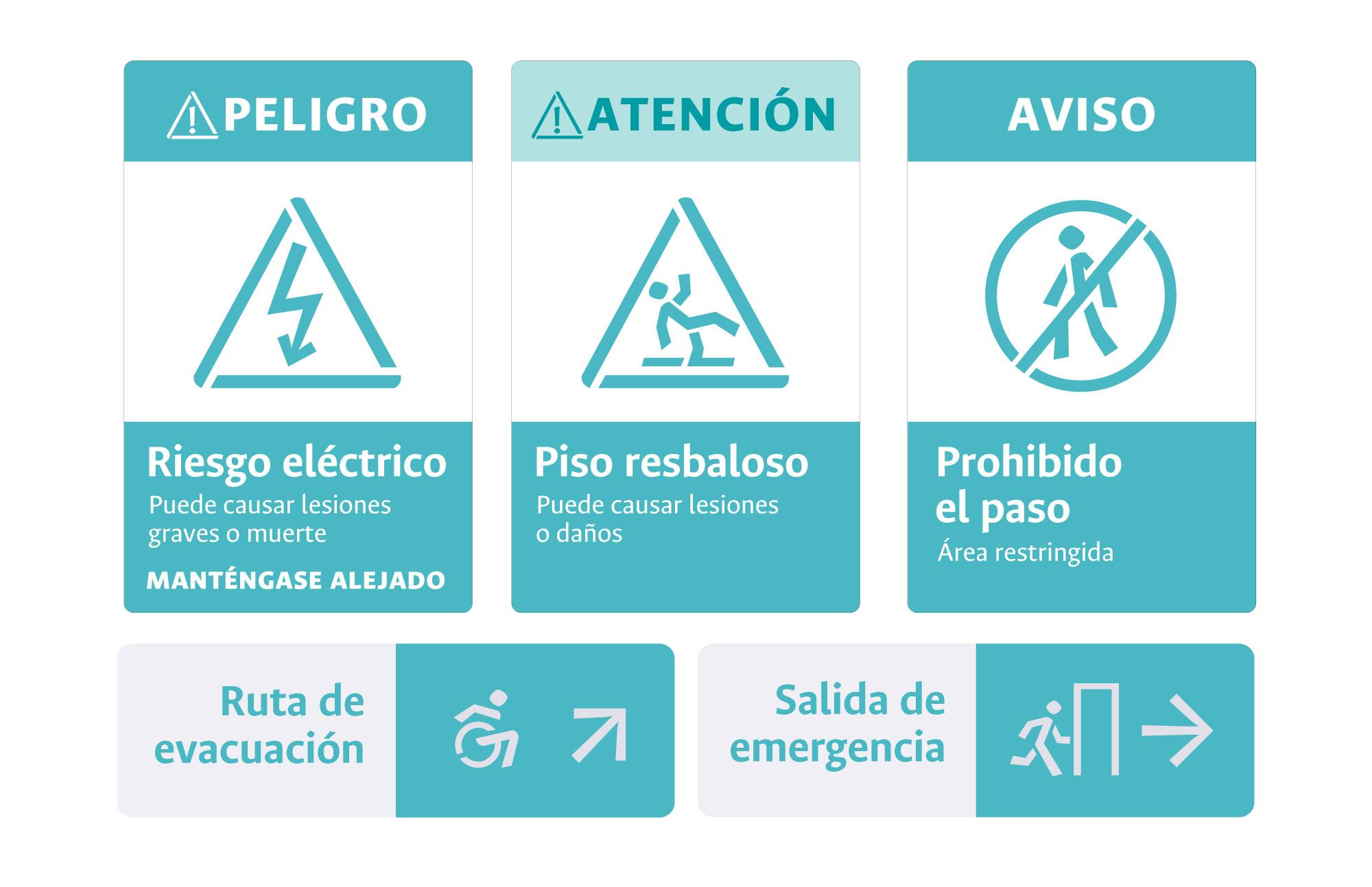 Aunque estas señales cuentan con unos parámetros establecidos por la Norma Técnica Colombiana 1461, los elementos de diseño que se usan pueden ser los propios de la Universidad, conservando la imagen institucional.
